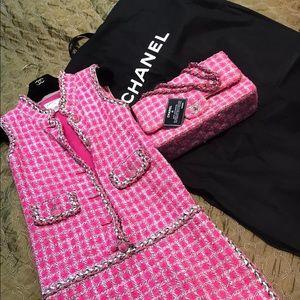Chanel Tweed Pink Jumbo Classic Bag
